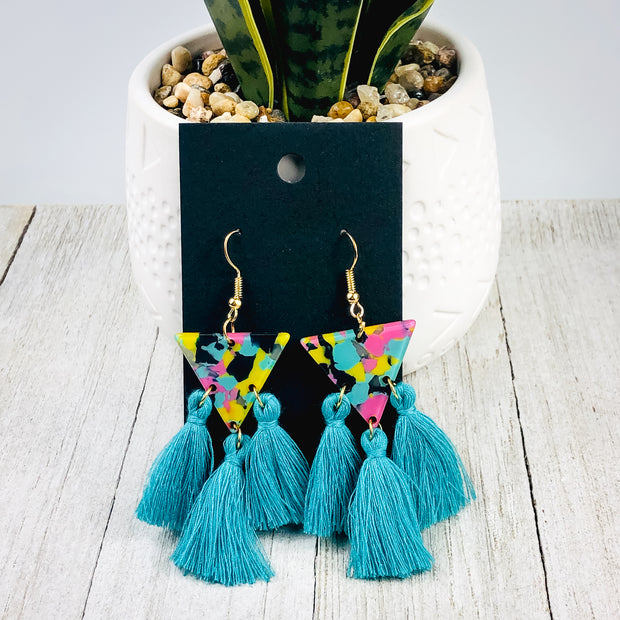Triangle Tassel Earrings - 2 Colors
