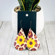 Teardrop Sunflower Cheetah Earrings - 2 Sizes