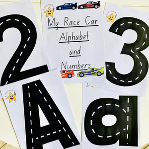*Digital File*-My Race Car Alphabet and Numbers