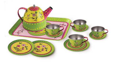 15 PCS FLOWER TIN TEA SET