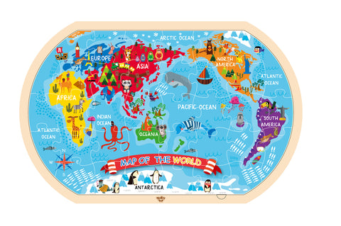 WORLD MAP PUZZLE 45X30CM