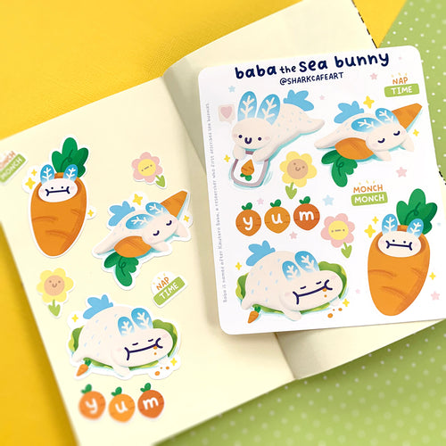 'baba the sea bunny' Stationery Sticker Sheet