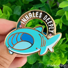 Load image into Gallery viewer, Relatable Shark : Inhales Deeply | Basking Shark Pin (FLAWED)