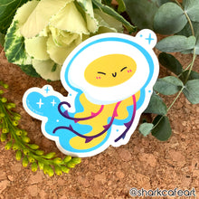 Load image into Gallery viewer, Egg Yolk Jellyfish CLEAR VINYL Sticker