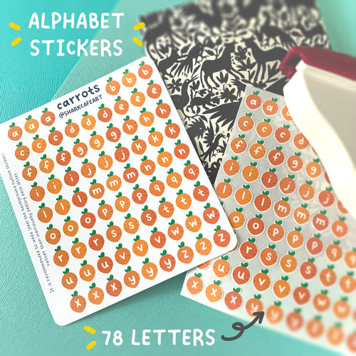 'carrots' Alphabet Stationery Sticker Sheet