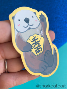 Lucky Awwter Sea Otter GOLD FOIL VINYL Sticker