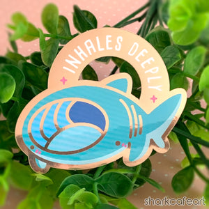Inhales Deeply | Basking Shark GOLD GLOSSY Sticker
