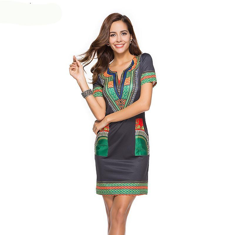 Sexy V Neck Pocket Patchwork  Tunic Dress