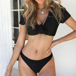 Sexy V Neck Short Sleeve Front Knotted Tie  Swim Bikini
