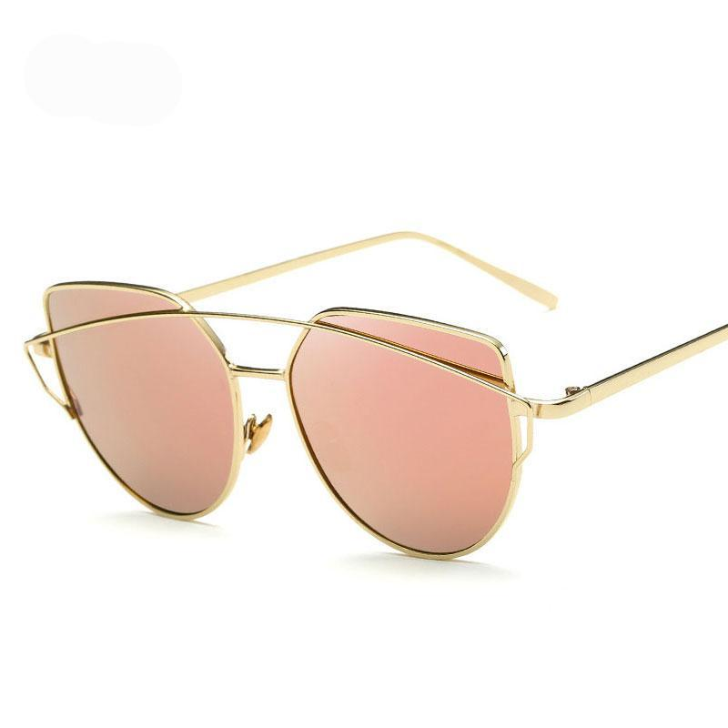 New Cat Eye Sunglasses  Designer Fashion Twin Beam Sunglasses UV400