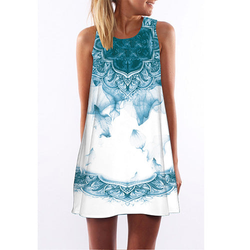 Summer Dress Women Floral Print Chiffon Dress  Boho Style