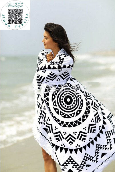 New Summer Large Microfiber Printed Round Beach Towels With Tassel