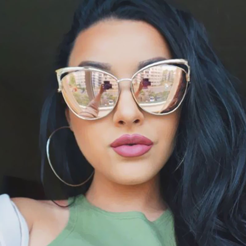 New Fashion Cat Eye luxury 2018 Sunglasses  Twin-Beam Mirror
