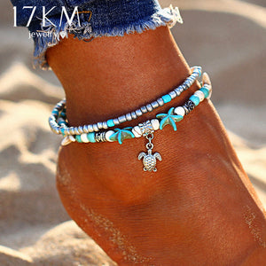Vintage Shell Beads Starfish Anklets  Handmade Bohemian Jewelry Sandals