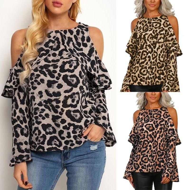 2ec06f53b4f5 Load image into Gallery viewer, Off-Shoulder Leopard Printed Long Sleeve T- Shirts ...