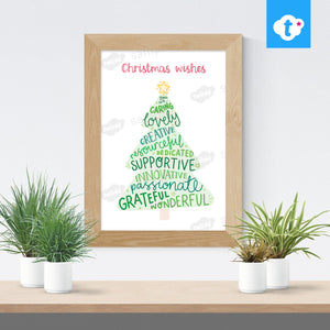Christmas Wishes - Digital Word Art Teacher Gift