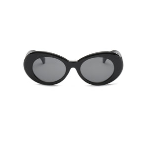 women round oval sunglasses with black lens and black frame