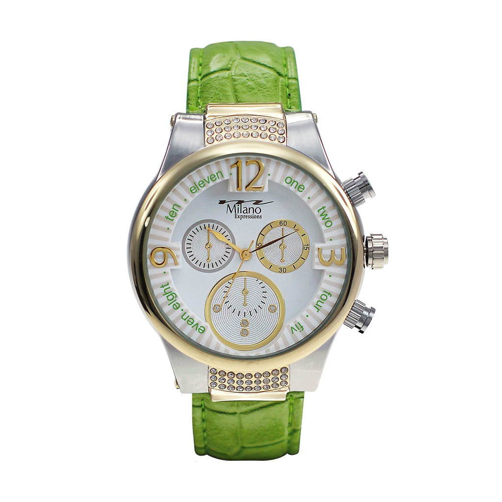 M Milano Expressions Women's Green Faux Leather Strap Watch with Gold Case - White Dial