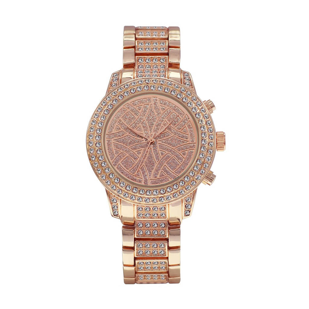 M Milano Expressions Women's Rose Gold Metal Band Watch with Case - Rose Gold Dial