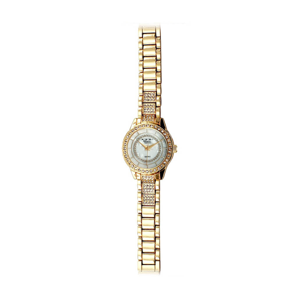 M Milano Expressions Women's Gold Metal Band Watch - White Dial