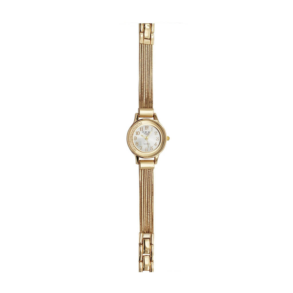 M Milano Expressions Women's Gold Metal Bracelet Watch - White Dial