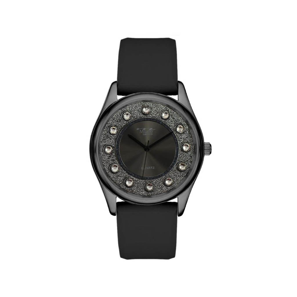 M Milano Expressions Women's Black Silicon Band Watch with Black Case - Black Dial