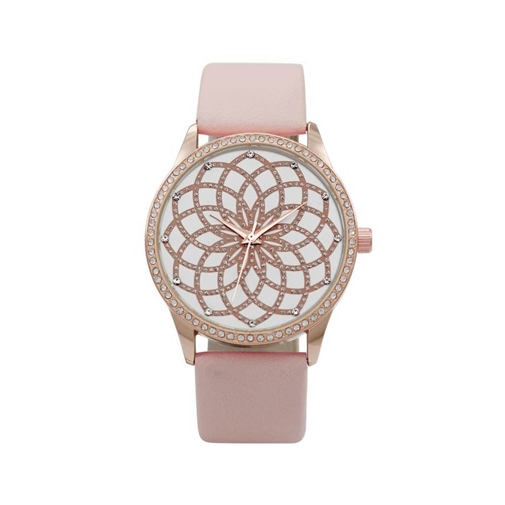 M Milano Expressions Women's Vegan Leather Band Watch with Rose Gold Case - Infinity Dial
