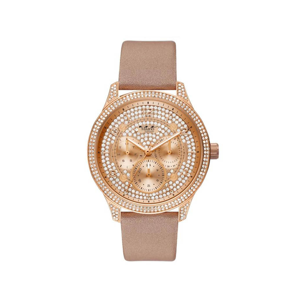 M Milano Expressions Women's Vegan Leather Band Watch with Rose Gold Case - Rose Gold Dial with Stones