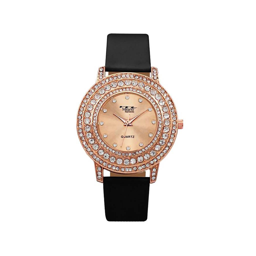 M Milano Expressions Women's Vegan Leather Band Watch with Rose Gold Stone Case - Rose Gold Dial