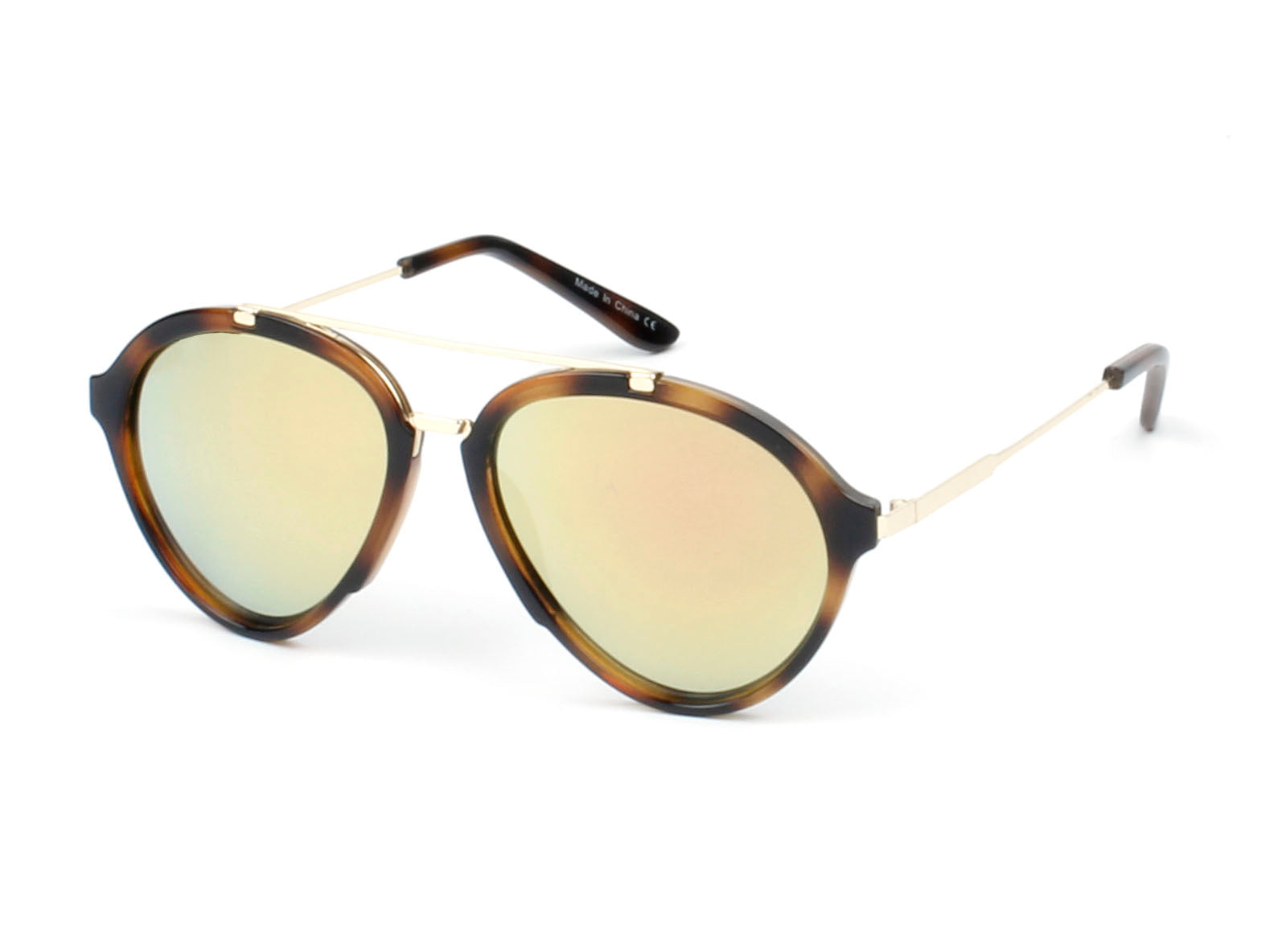Women Mirrored Round Fashion Sunglasses - Tortoise