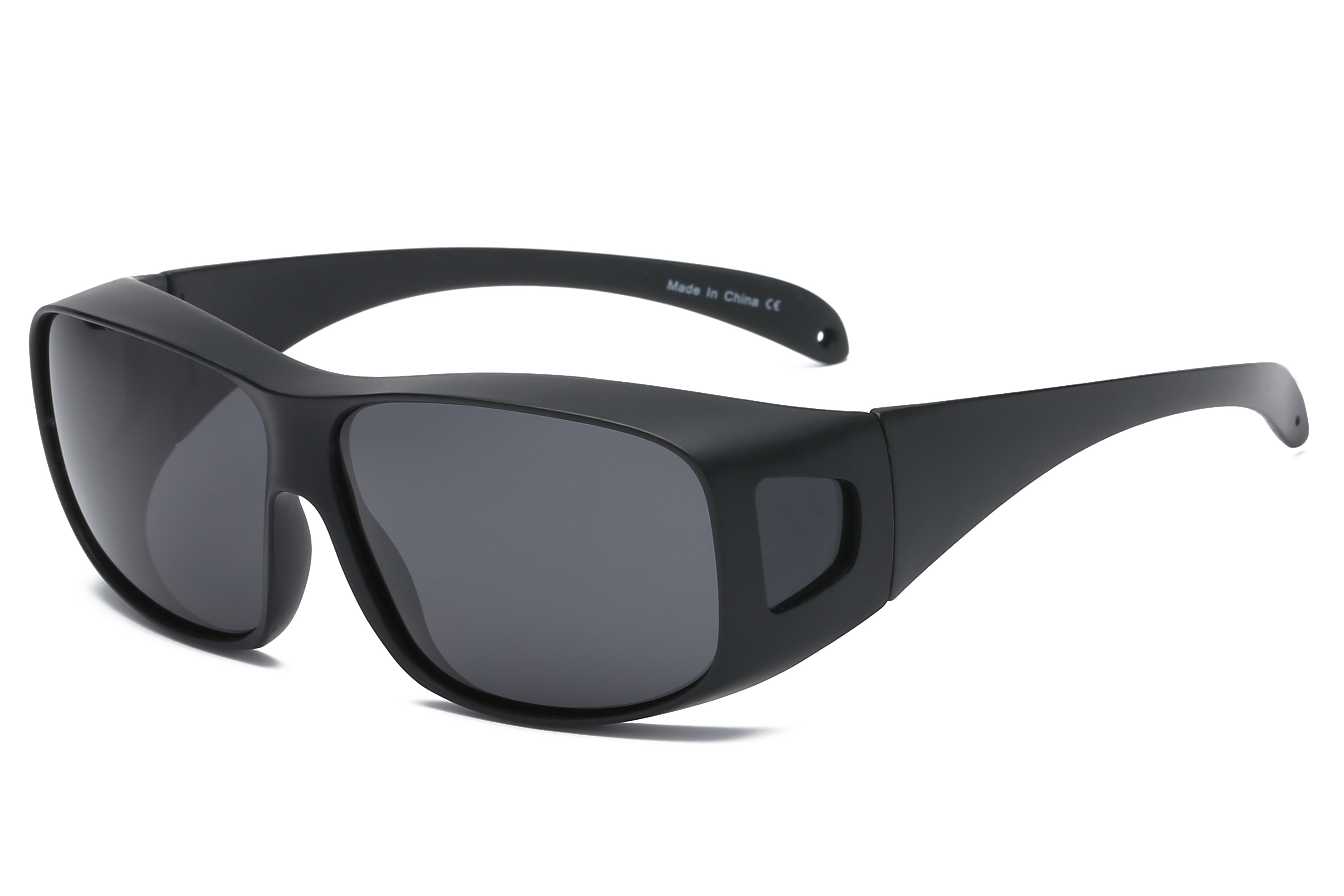Men Retro Vintage Sports Shield Square Polarized HD Sunglasses - Black