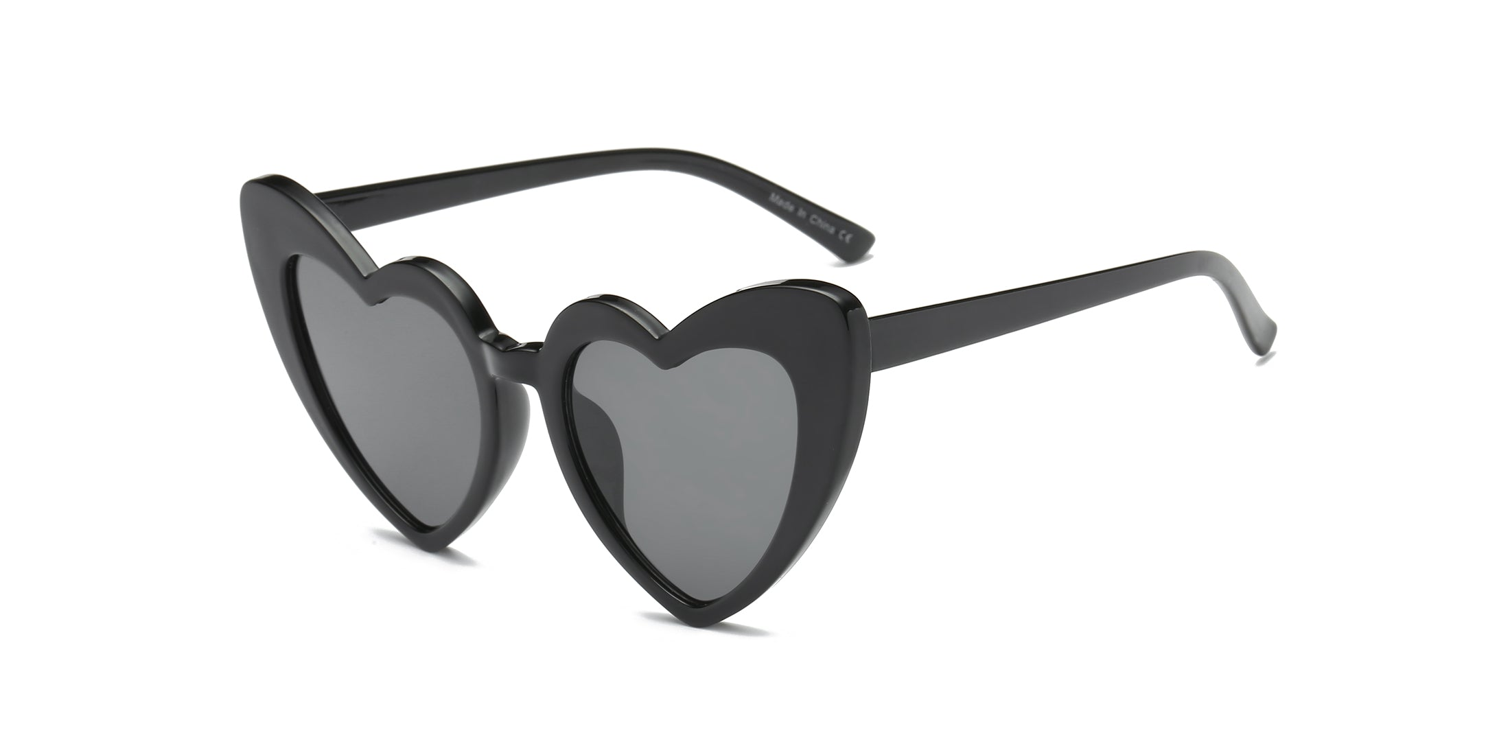 Women Funky Hipster Heart Shape High Pointed Cat Eye Fashion Sunglasses - Black