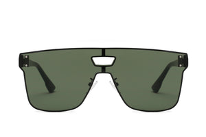 Retro Vintage Square Flat Lens UV Protection Fashion Sunglasses for Men and Women - Olive