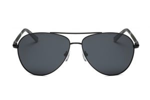 Men Classic Premium Metal Circle Round Polarized HD Lens Aviator Fashion Sunglasses - Black
