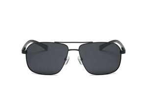 Men Classic Metal Square Brow-Bar Sports Polarized HD Lens Fashion Sunglasses - Black