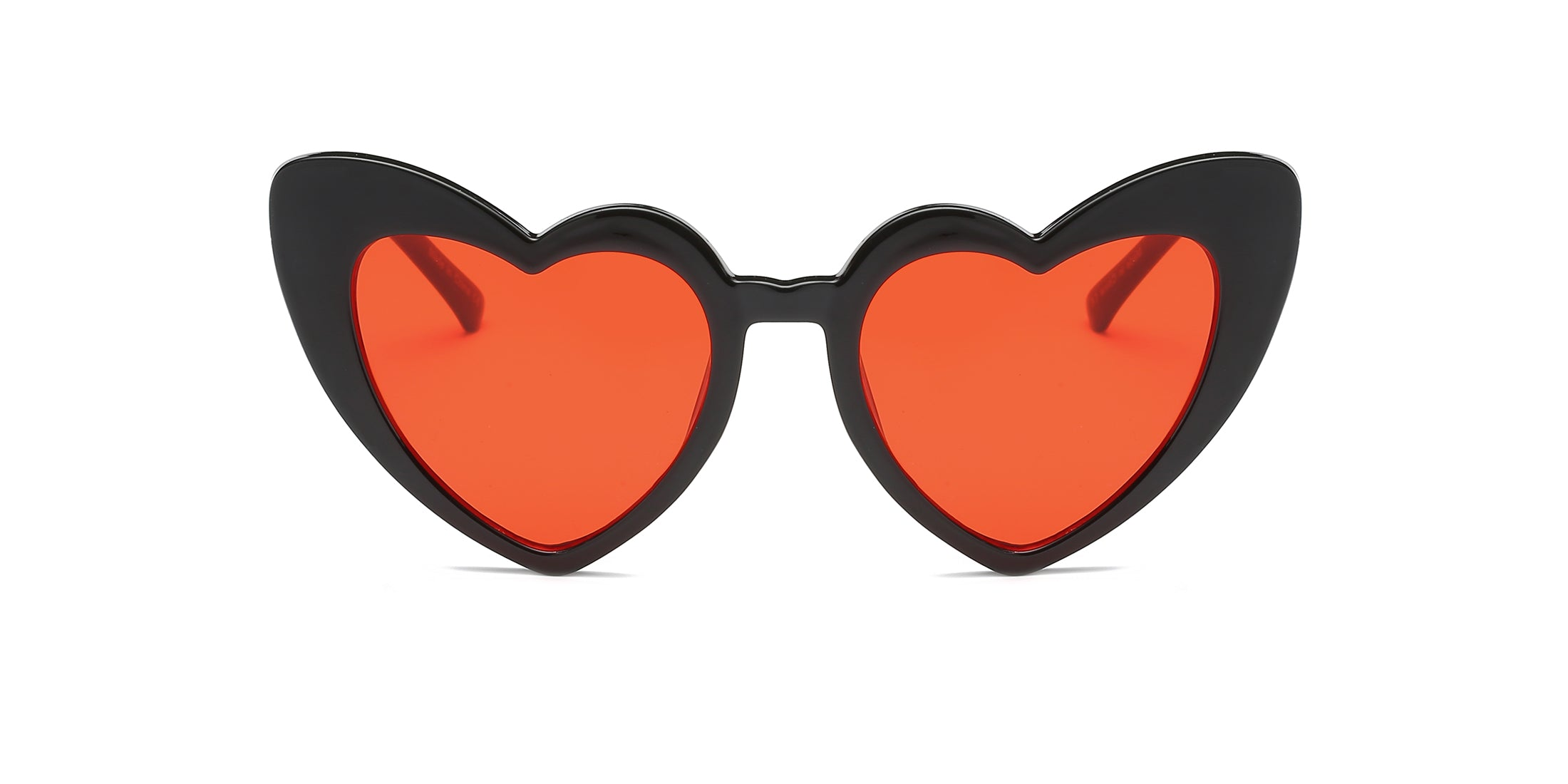 Women Funky Hipster Heart Shape High Pointed Cat Eye Fashion Sunglasses - Red