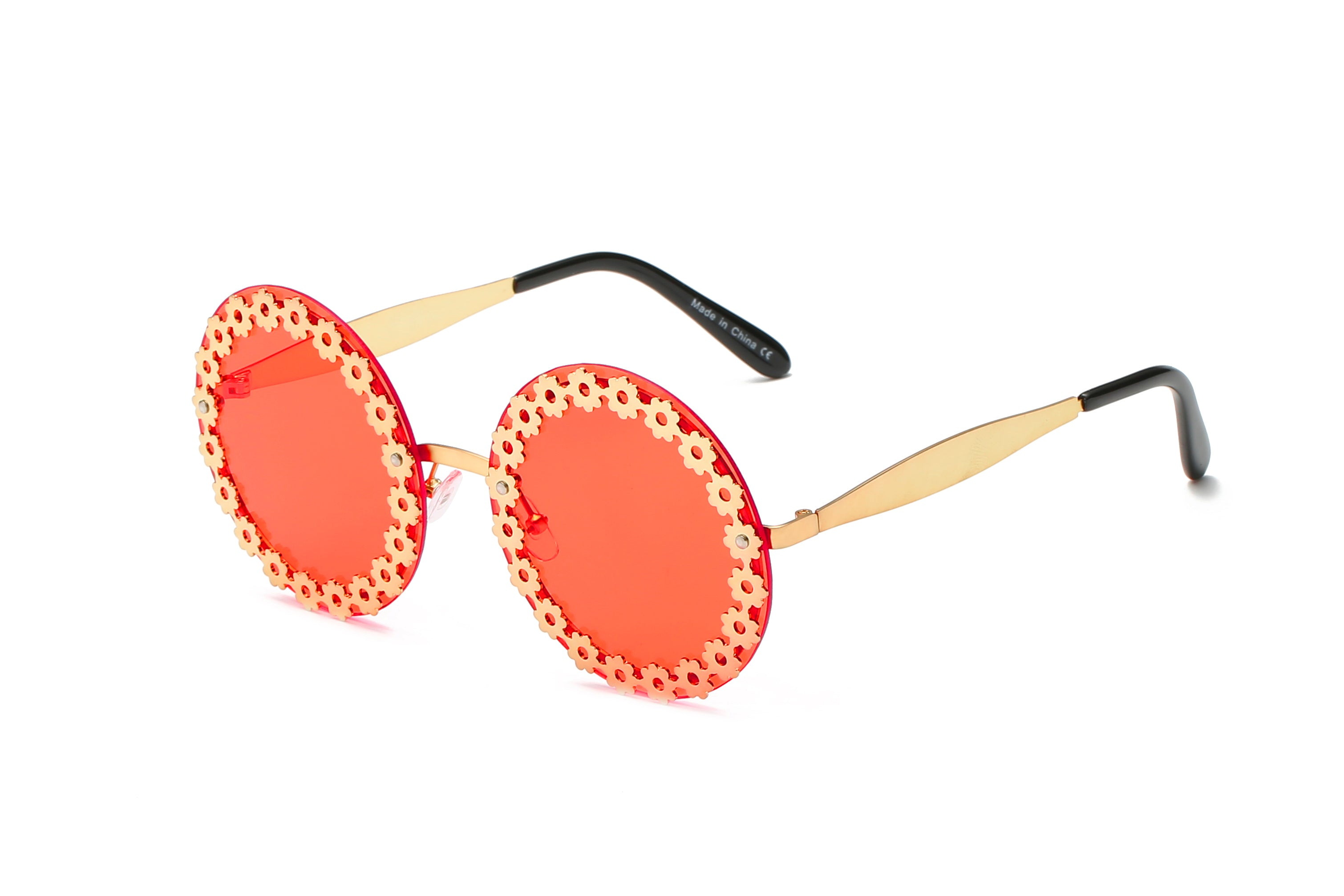 Women Retro Vintage Circle Round Mirrored UV Protection Oversized Fashion Sunglasses - Red
