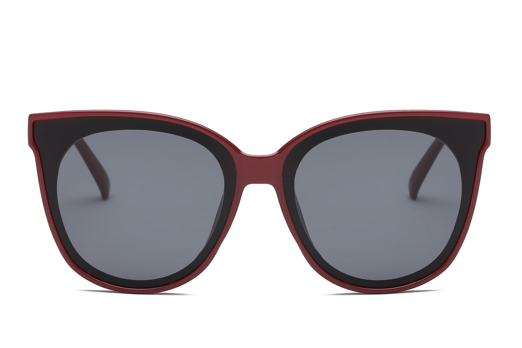 women fashion round cat eye sunglasses with maroon frame and smoke lens
