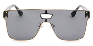 Retro Vintage Square Flat Lens UV Protection Fashion Sunglasses for Men and Women - Grey
