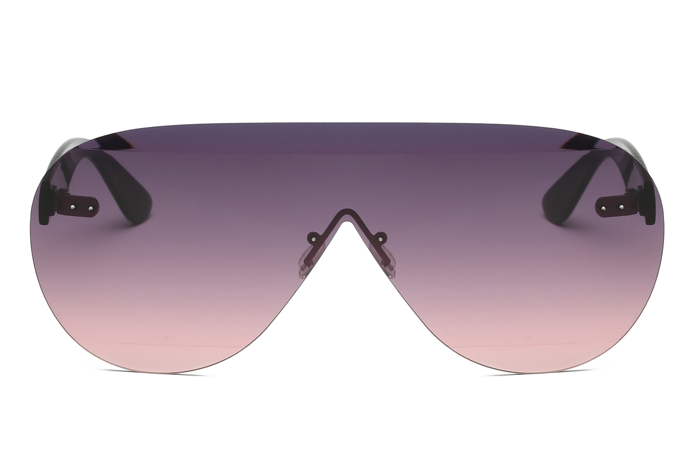 Women Modern Premium Rimless Oversized Aviator Sunglasses - Purple