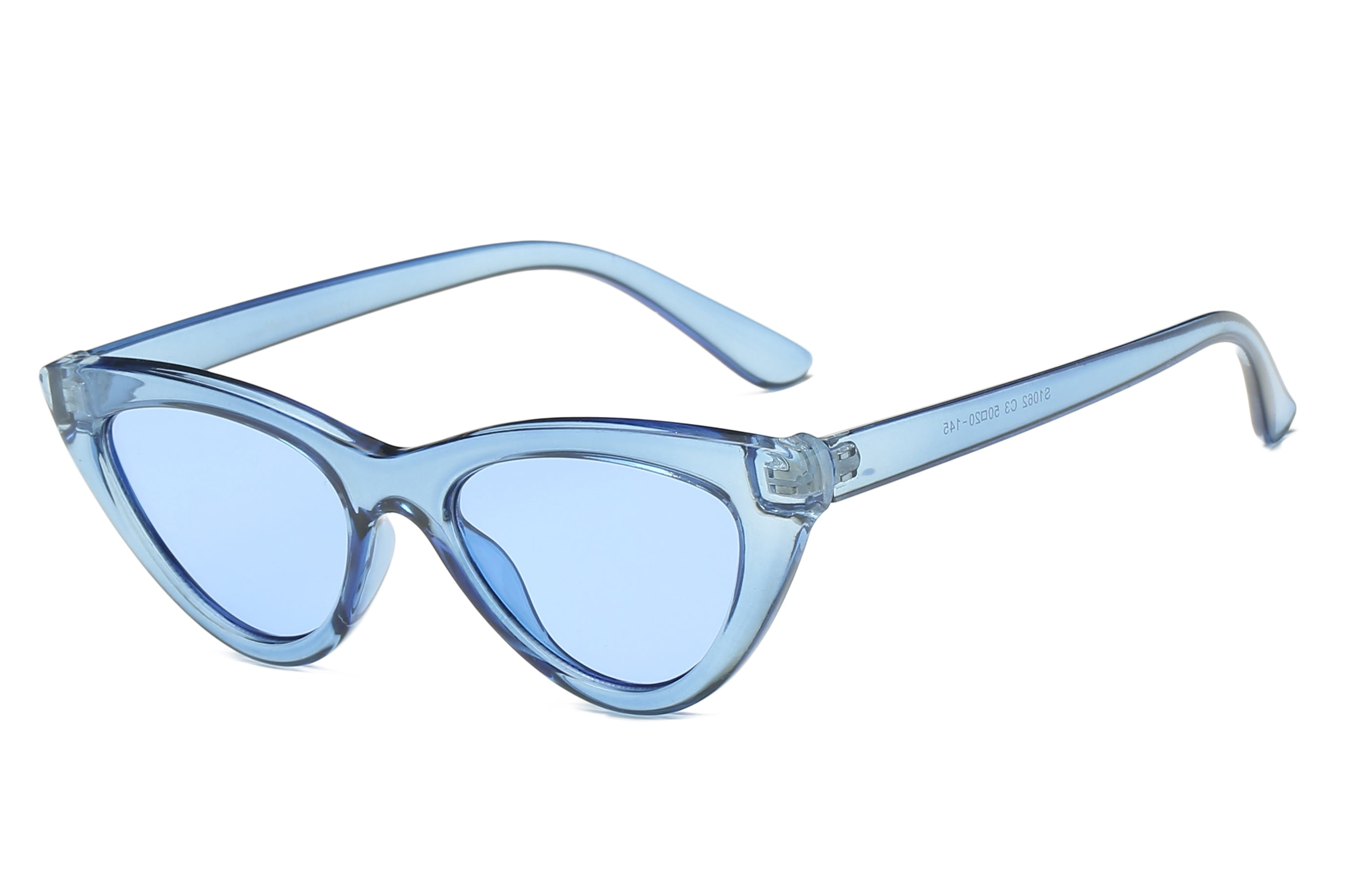 women retro vintage cat eye sunglasses with clear blue frame and tinted blue lens