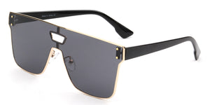 Retro Vintage Square Flat Lens UV Protection Fashion Sunglasses for Men and Women - Black