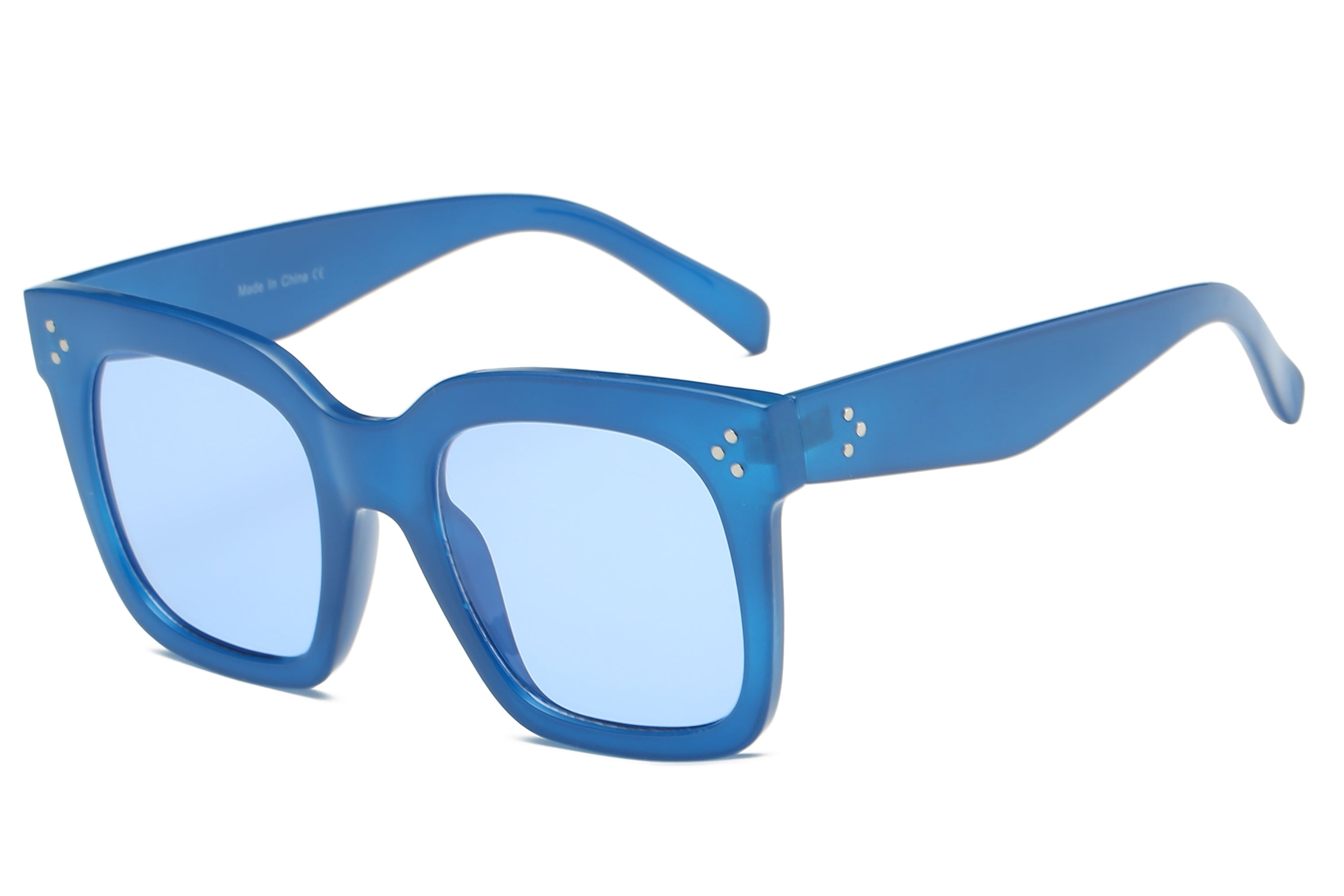 women oversize square fashion sunglasses with blue frame and blue tinted lens