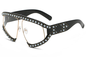 Women Half Frame Shield Rhinestone Pearls Large Oversized UV Protection Fashion Sunglasses - Clear Lens