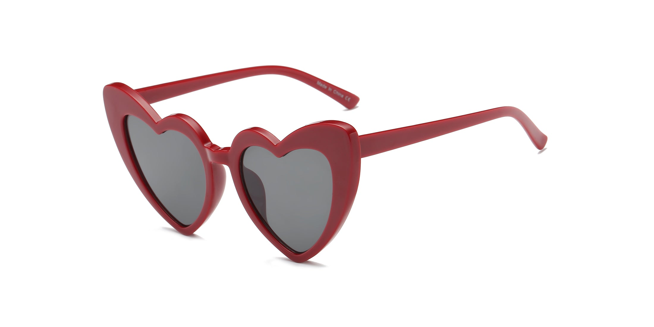Women Funky Hipster Heart Shape High Pointed Cat Eye Fashion Sunglasses - Maroon