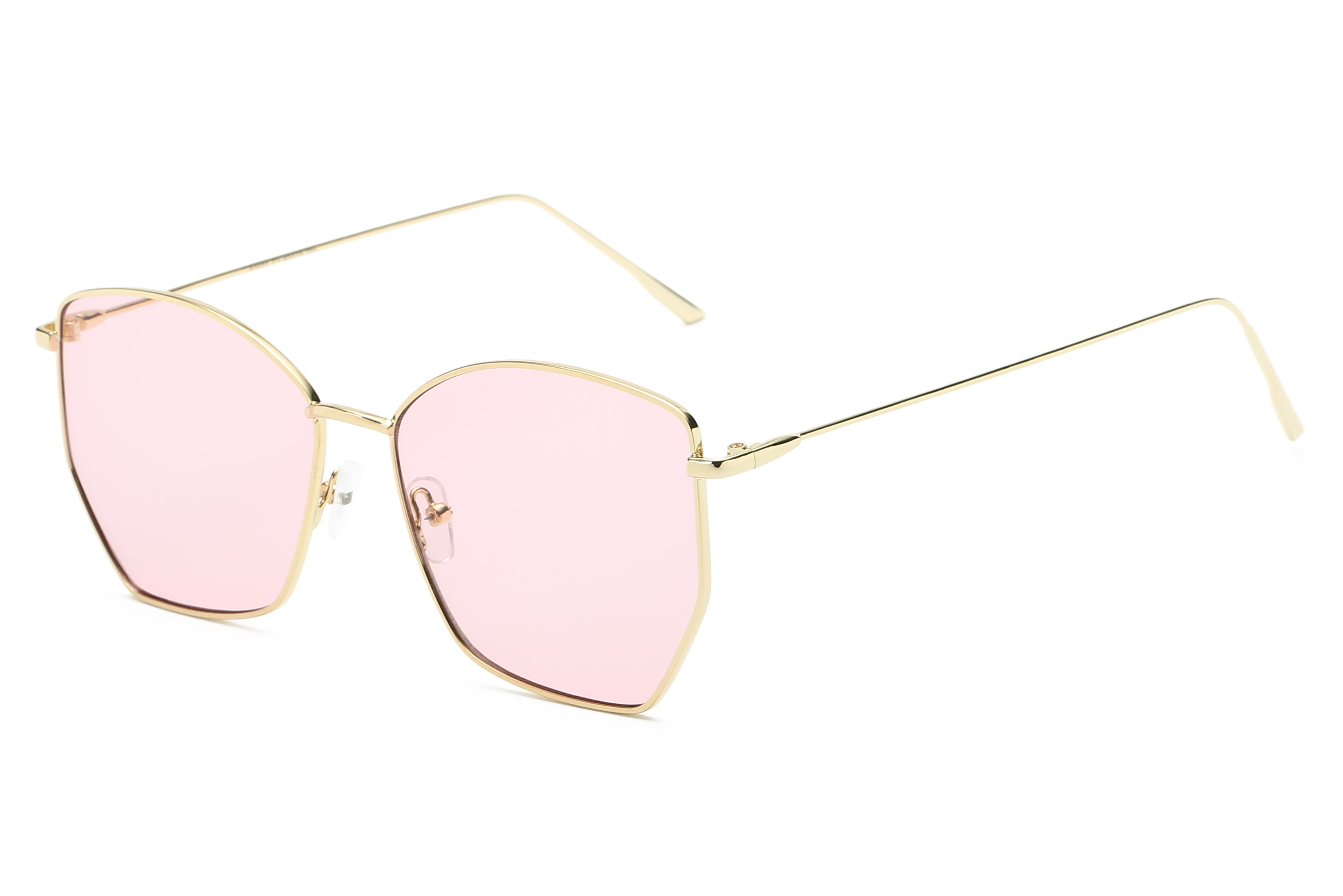 Women Modern Fashion Metal Geometric Square Oversized UV400 Protection Sunglasses - Pink