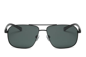 Men Classic Metal Square Brow-Bar Sports Polarized HD Lens Fashion Sunglasses - Olive