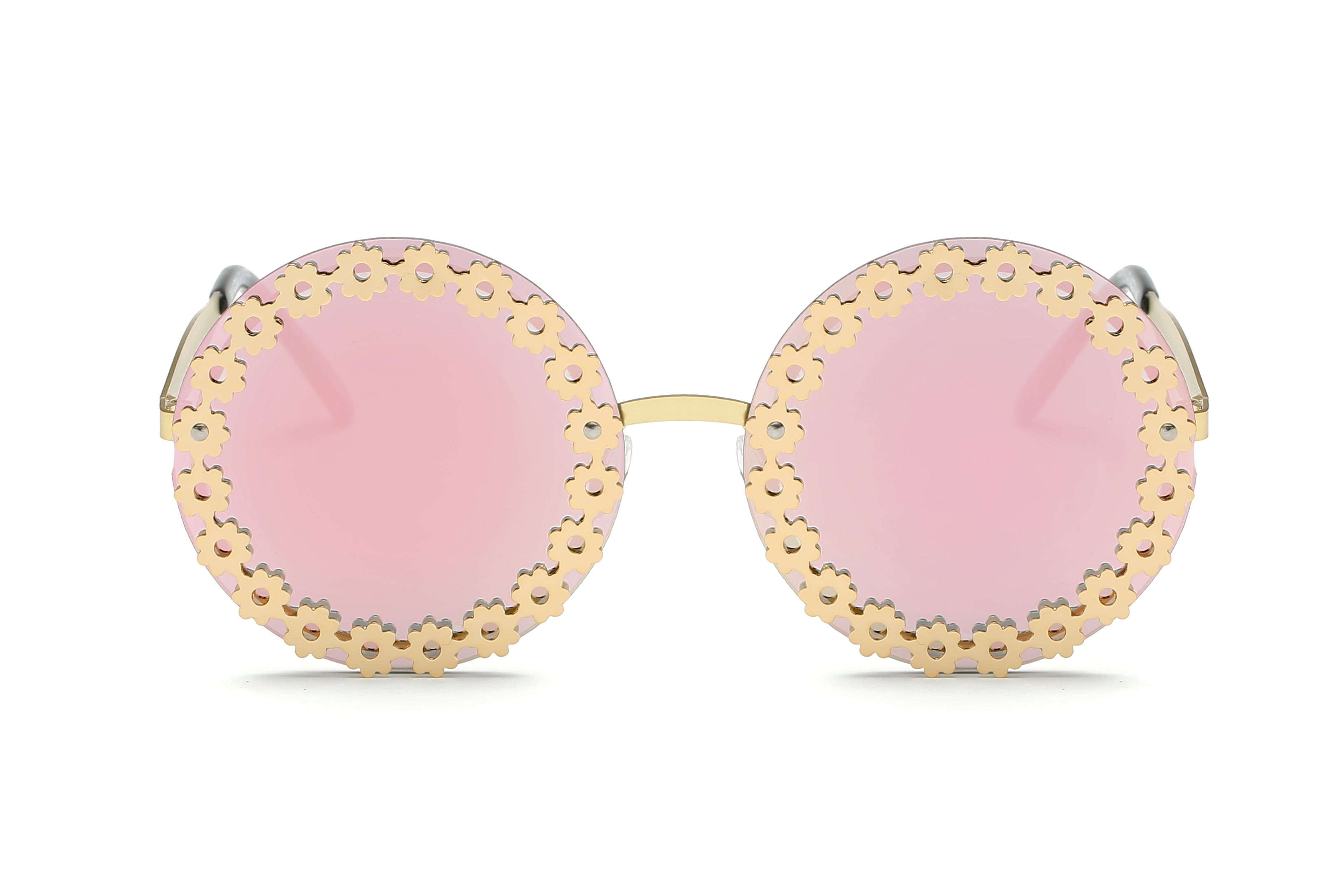 Women Retro Vintage Circle Round Mirrored UV Protection Oversized Fashion Sunglasses - Pink