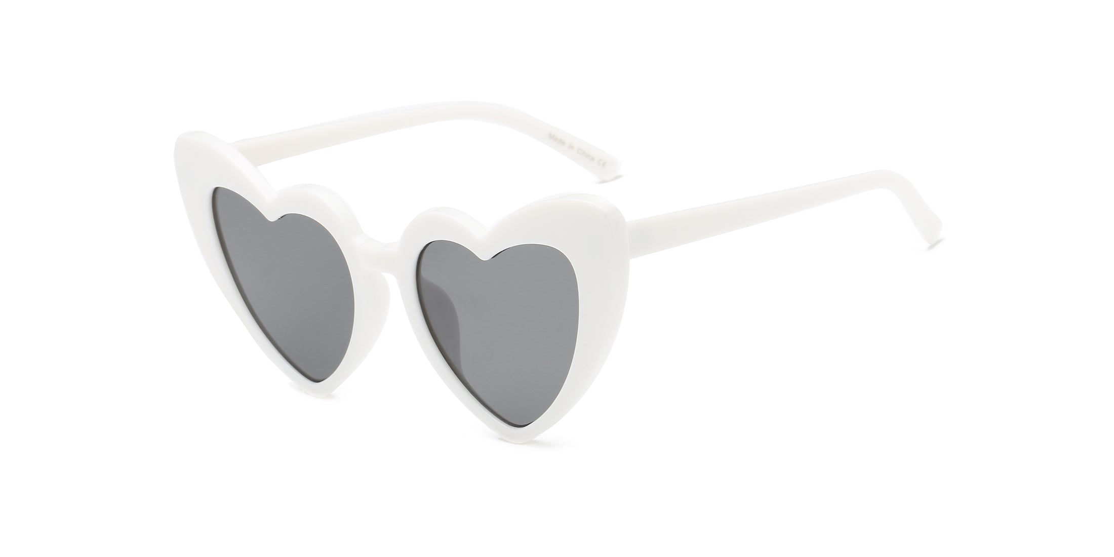 Women Funky Hipster Heart Shape High Pointed Cat Eye Fashion Sunglasses - White