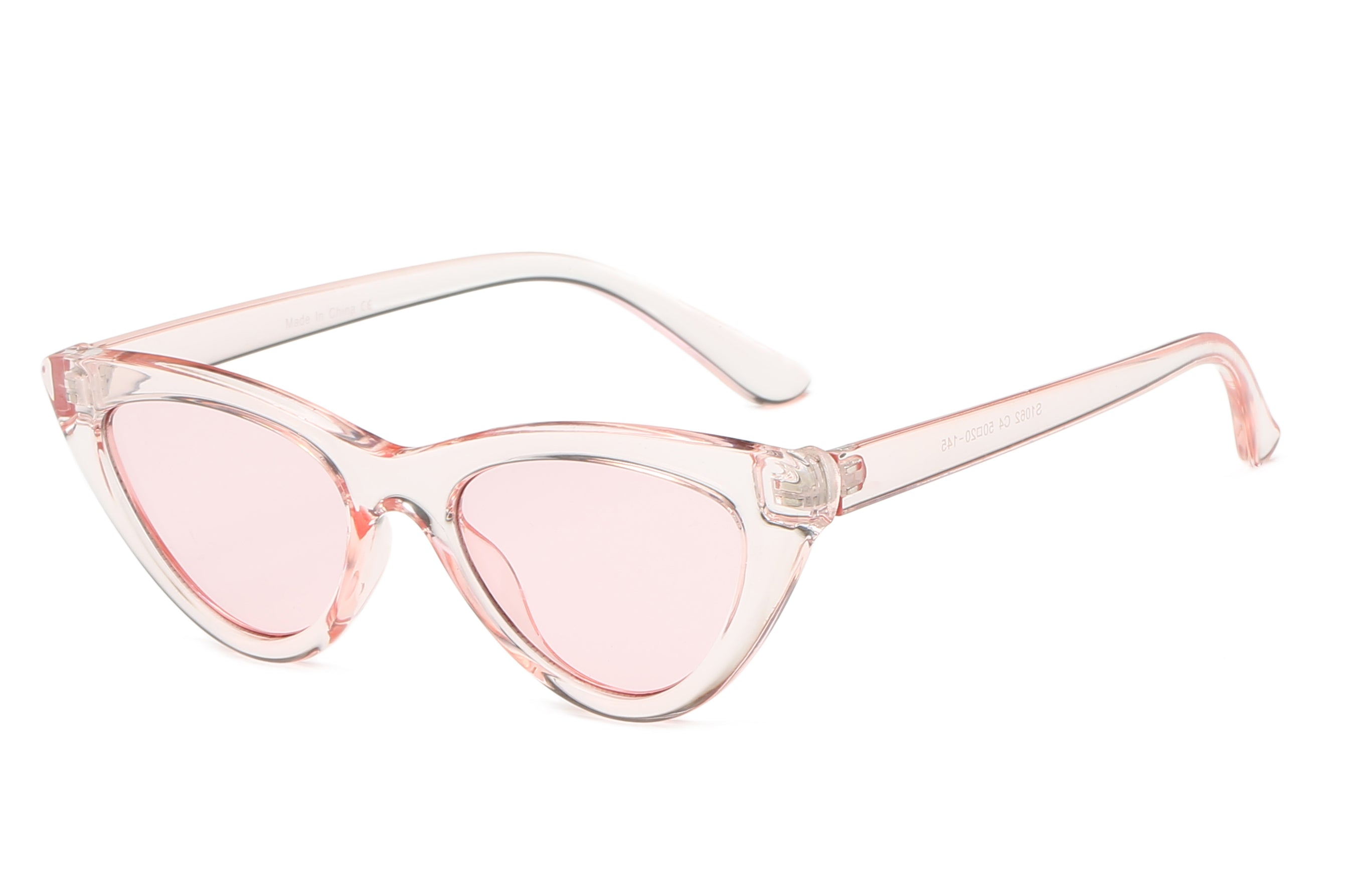 women retro vintage cat eye sunglasses with clear pink frame and tinted pink lens